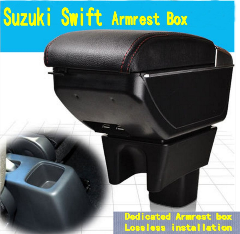 For Suzuki Maruti DZire Swift armrest box central Store content box with cup holder ashtray decoration With USB interface for chery tiggo 2 3x 2016 2017 2018 armrest box central store content box with cup holder ashtray decoration with usb interface