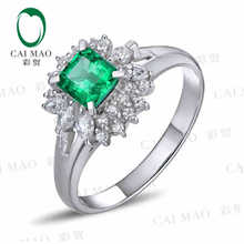CaiMao 0.58 ct Natural Emerald 18KT/750  White Gold  0.34 ct Full Cut Diamond Engagement Ring Jewelry Gemstone colombian