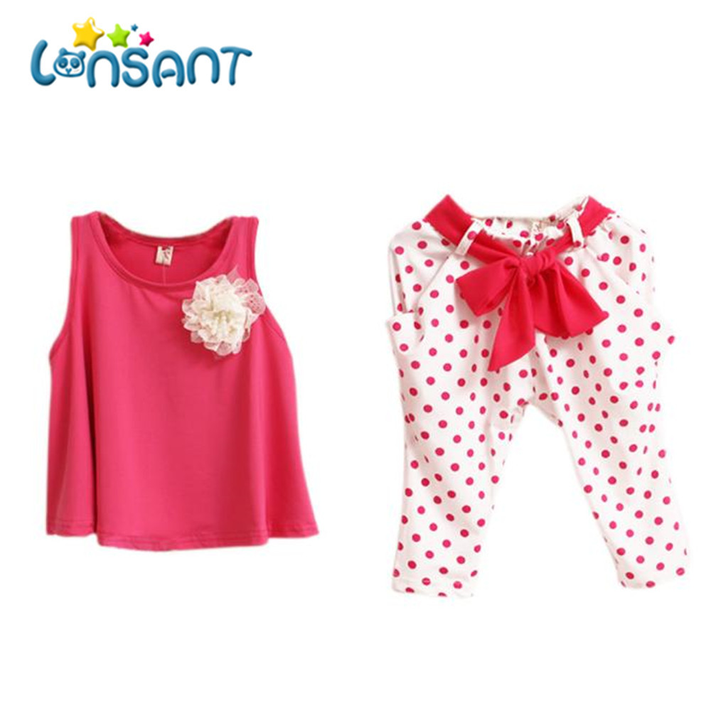 LONSANT New 2018 Summer Baby Girl clothes sweet Flower Casual sleeveless fashion  Round collar Set Toddler Vest Clothing