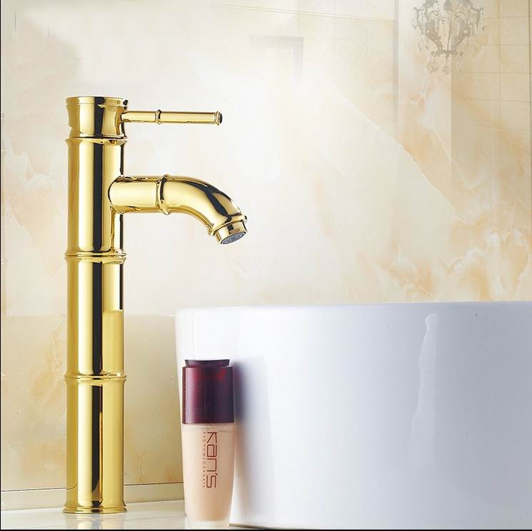 Free Shipping Classic Solid Brass Bathroom basin Faucet Single Handle Golden basin mixer banheiro torneira Bamboo faucet taps