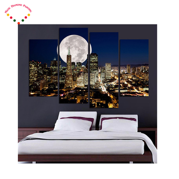 5D 4pcs round/square diamond painting NewYork city night view cross stitch crystal full diamond embroidery plastic crafts