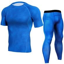 men sportswear sweatsuits 3D printed elastic leggings tights sweatshirts+pants running jogger fitness gym set clothes sport suit