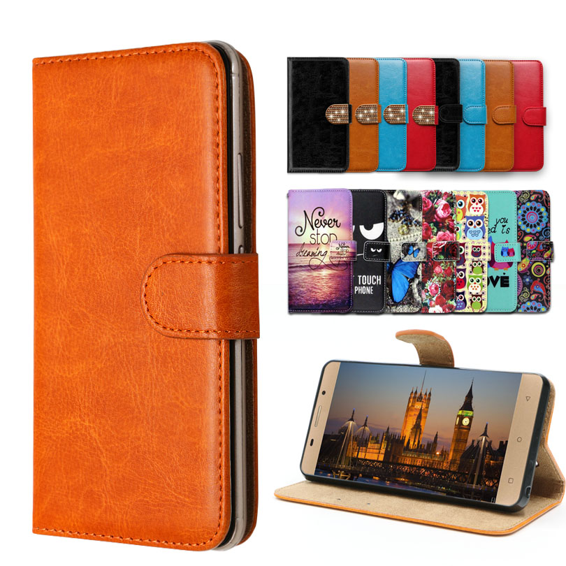 Vintage Flip Case with kickstand Luxury PU Leather case for Senseit C155 ,lovely cool Cartoon Wallet Fundas Cover
