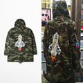 2016 Winter Embroidery Rocket Jacket Camouflage Hooded Jacket Windbreaker Kanye West Jay-z Bieber Style Streetwear Jacket Coat