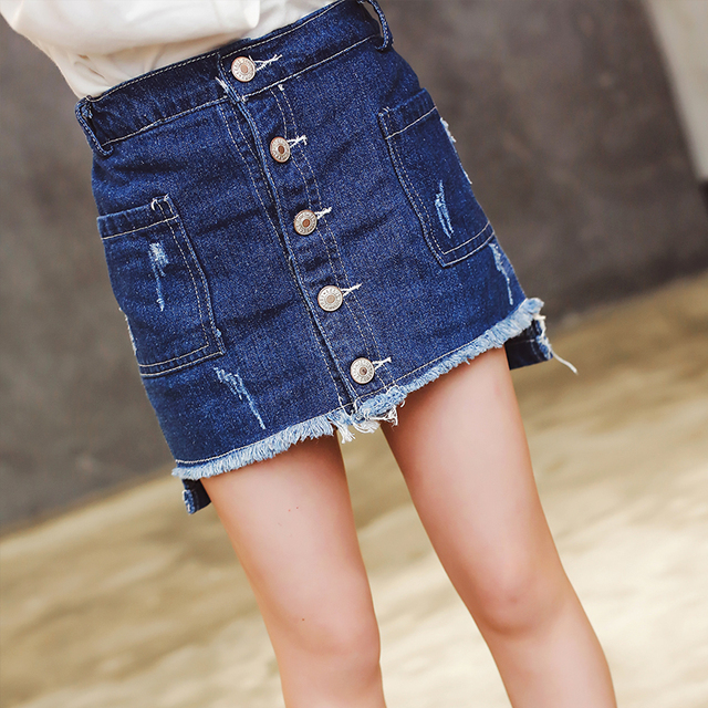 Girls' skirts in the spring of 2017 new children's clothing children's A word skirt female baby skirt denim skirt