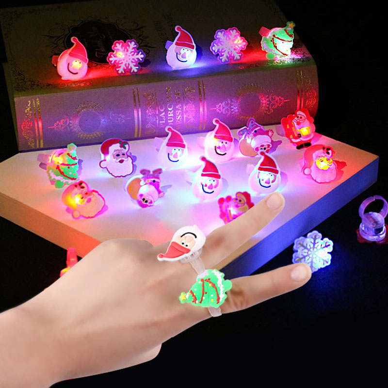 3CM Fashion Finger Rings Flashing Glowing Toys for Children Kid Girls Luminous LED Flash Ring Christmas Gifts Toy Party