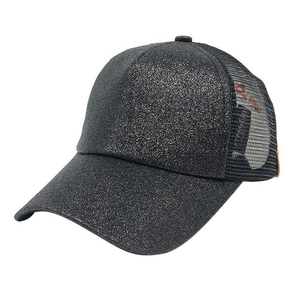 Composite Bats 2018 Women Ponytail Baseball Cap Sequins Shiny Messy Bun Snapback Hat Sun Caps