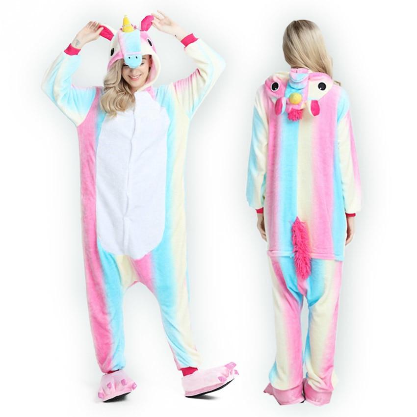 2018 Unicornio Anime   Pajama     Sets   Cartoon Sleepwear Women   Pajamas   Flannel Animal Panda Unicorn   Pajama   Winter Warm Hooded