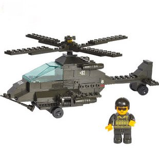 Candice guo! Building blocks set Apache helicopters fighter plane educational plastic toy disassembly kids love most