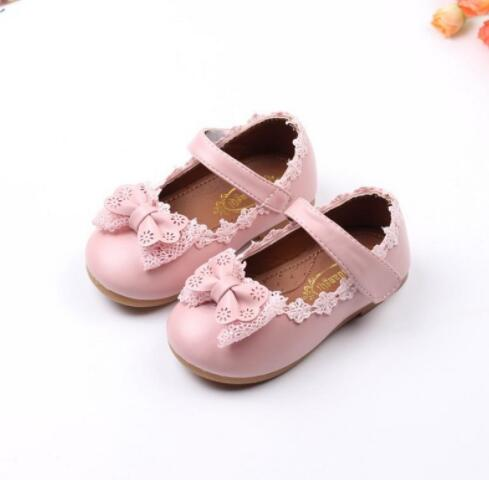 Korean Sweet Style Kids Wedding Leather Shoes Princess Girls School Party Shoes Fashion Casual Girls Shoes Pink