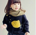 Cute Bubble Fish Print Baby Girl Batwing Sleeve Thicken Fleece Cotton Winter Hoodies Kids Sweatshirt 2 Colors