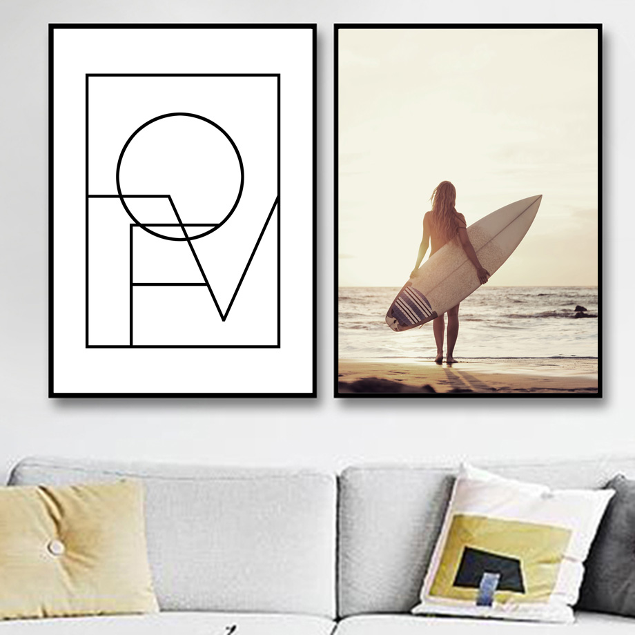 Girl Surfboard Wall Art Canvas Painting Love Quotes Nordic Posters And Prints Seascape Wall Pictures For Living Room Home Decor