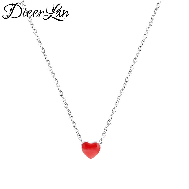 New Arrivals 925 Sterling Silver Red Heart Necklaces & Pendants For Women Fashion sterling-silver-jewelry