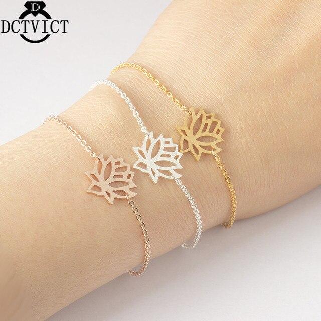 Rose Gold Lotus Flower Bracelets For Women Bohemian Jewelry Stainless Steel Chain Kids Bracelet Femme Best Friend Gifts Bff