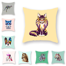 Cartoon Animated Throw Pillow Covers Watercolor Animal Cushion Set Unicorn Zebra Tiger Lion Pattern Polka Dot Green Sofa Deco