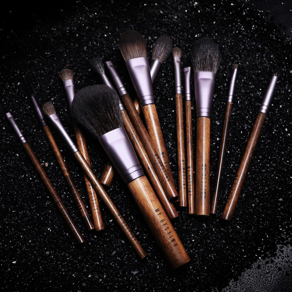 Eyeshadow Cosmetic-Brush-Kit Blending Complete Natural Blush Hair-Wood-Powder Goat 14pcs title=
