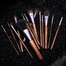 Conjunto de pincéis de maquiagem, kit com 14 pincéis de maquiagem de pelo natural de cabra, pó de madeira, para esfumar blush, sombra, cosméticos