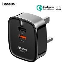 Baseus USB зарядное устройство Quick Charge 3,0 Великобритания Plug Двойной порты и разъёмы Путешествия стены зарядное устройство адаптер QC3.0