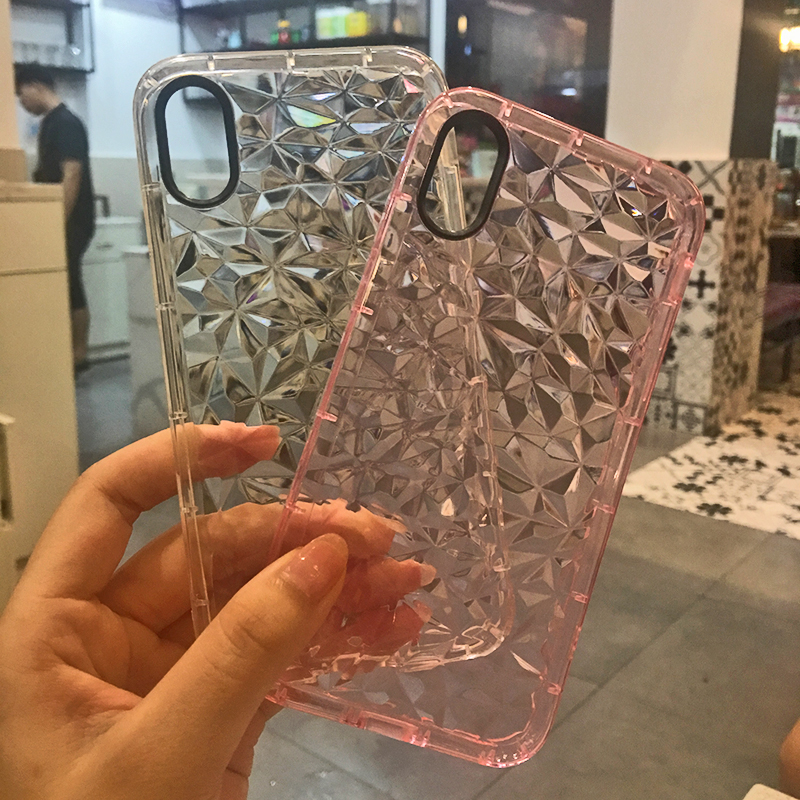 Luxury Geometric Diamond Transparent Soft Cover For iPhone 5 5S SE 6 6S 7 8 8 plus Rhombus Clear Case For iPhone X Water Feeling (7)