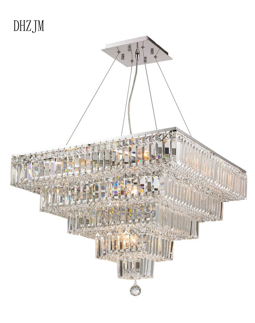 MODULAR 5 TIER CRYSTAL CHANDELIER 66CM SQUARE CHROME FIXTURES ...