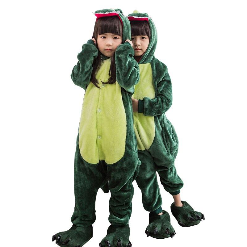 2018 winter girl boy childrens pajamas baby onesie kids pajama set animal cartoon sleepwear green Dinosaur cosplay