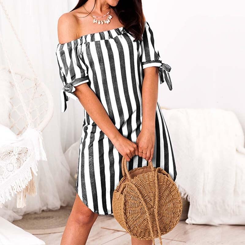 2018 Summer Striped Sundress Women Casual Off Shouler Belt Shirt Dress Loose Vestidos Sexy Short Robe Boho Elastic Neck Dresses