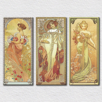 Wholesale Canvas prints Decorative classical beautiful sex woman paintings 3 pieces set for living room decor with good price