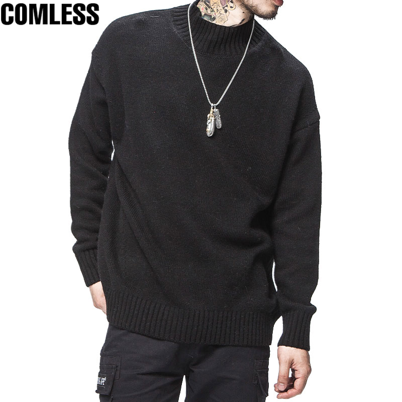 2017 New Trend Winter Hip Hop Sweater Men Casual Cashmere High Collar Pullover Mens Japanese Loose Style Fashin Design Sweaters