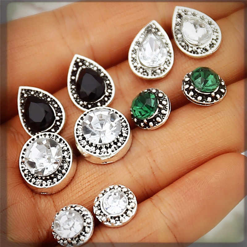 2018 Vintage Stud Earrings Set For Women Black Color Round Crystal Cubic Zirconia Earring Bohemian Retro Brincos Jewelry Gifts