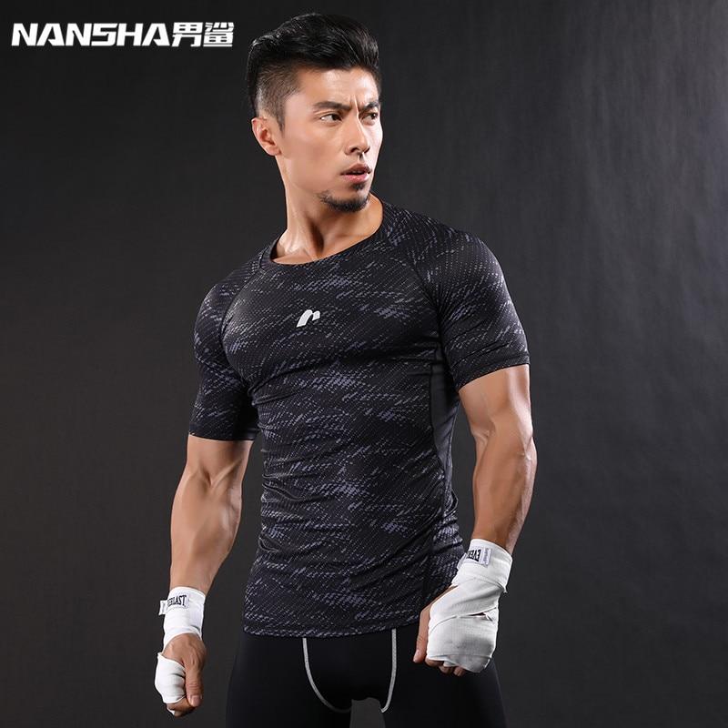 NANSHA Ropa de marca Gimnasios Compresión Camiseta Entrenamiento Crossfit Camiseta Gimnasio Pantalones delgados Camisas informales Secado rápido Transpirable