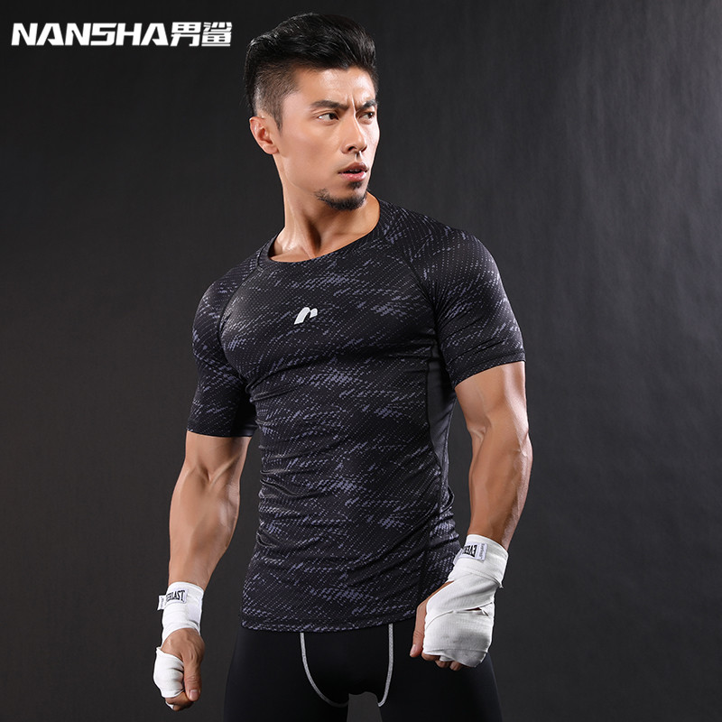 NANSHA Brand-Clothing Gyms Compression T-Shirt Workout T Shirt Fitness Slim Tights Casual Shirts Quick Dry Breathable