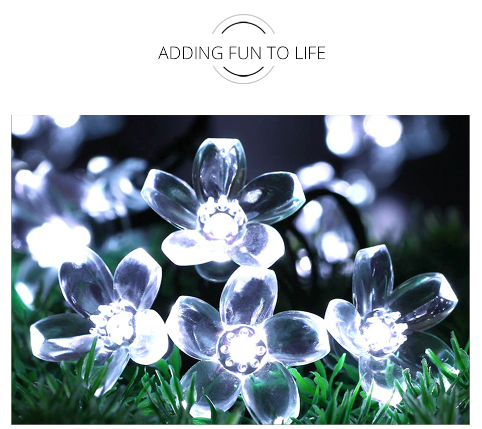 Peach Flower LED Solar Lamp Fairy String Light Outdoor Decoration Holiday Party Lights For Garden Christmas Tree Lawn Landscape (11)
