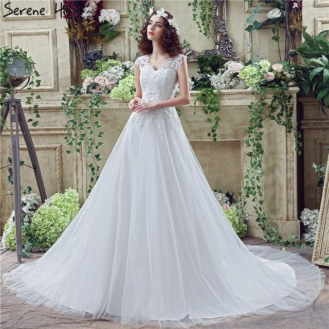 White Vintage V Neck A Line Wedding Dresses 2018 Lace Crystal ...
