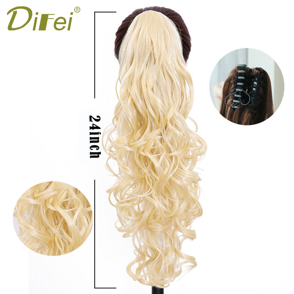 ALI shop ...  ... 32887242836 ... 2 ... DIFEI Synthetic Women Claw on Ponytail Clip in Hair Extensions Curly Style Pony Tail Hairpiece Black Brown Blonde Hairstyles ...