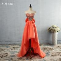 ZJ5074 Orange Blue Crystal Front Short Back Long Dresses Evening Party Gown Long Maxi Plus Size 6 8 10 12 14 16 18 20 22 24 26