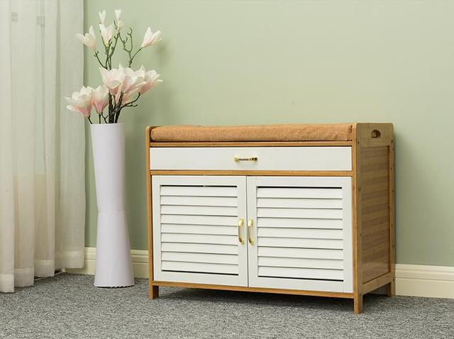 2 Shelves Bamboo Shoe Storage Cabinet With Two Doorsdrawer And