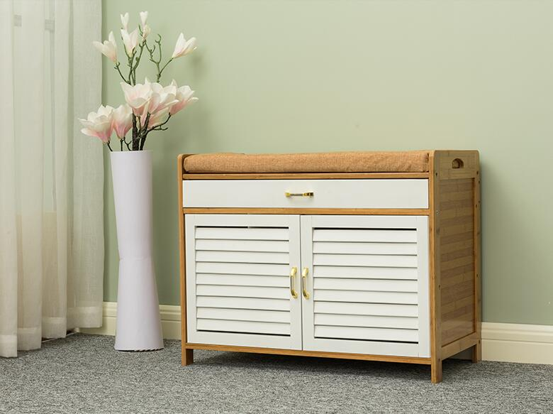 2 Shelves Bamboo Shoe-Storage Cabinet With Two Doors&Drawer and Cushion Seat Bamboo Furniture Double Shoe Cabinet for Hallway