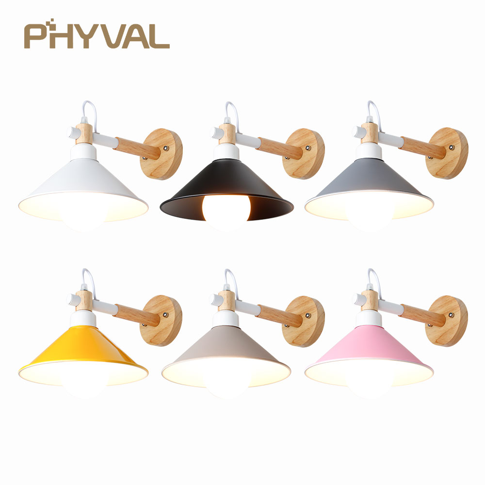 Wood Wall Lamps Simple Style Wall Lights Nordic light for Bedroom Bedside Lamp Reading Room lighting Restaurant Light Fixtures