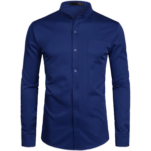 Image 5 - Mens Hipster Mandarin Collar Dress Shirts 2019 Brand New Slim Fit Long Sleeve Chemise Casual Work Busienss Shirt Male White 2XL