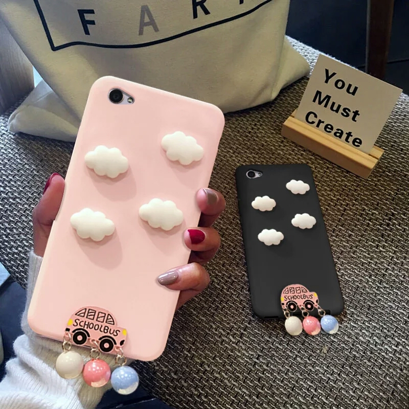 3D Cute Clouds For OPPO R15 Case Candy Soft Silicone Capa For OPPO R15 Dream Mirror Cover Luxury Car Pearl Pendant
