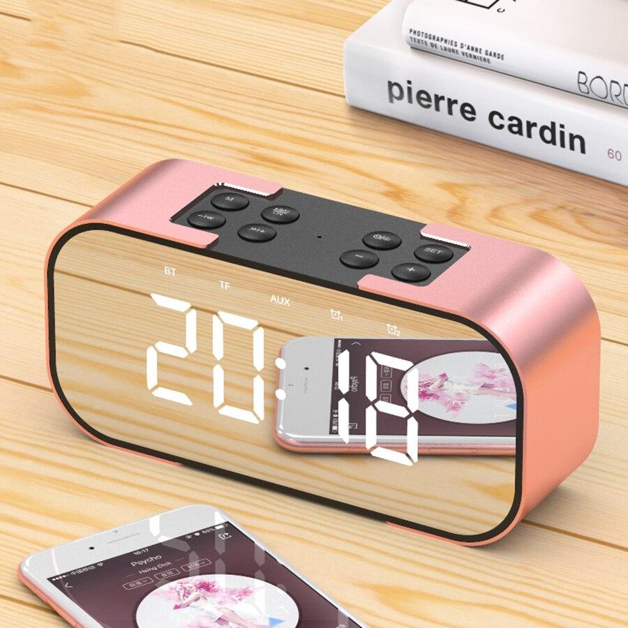 Bluetooth Led Miroir Réveil Numérique Snooze Nuit à Parler Nixie Électronique Horloge De Bureau Lumière Despertador Numérique Led 40N0082