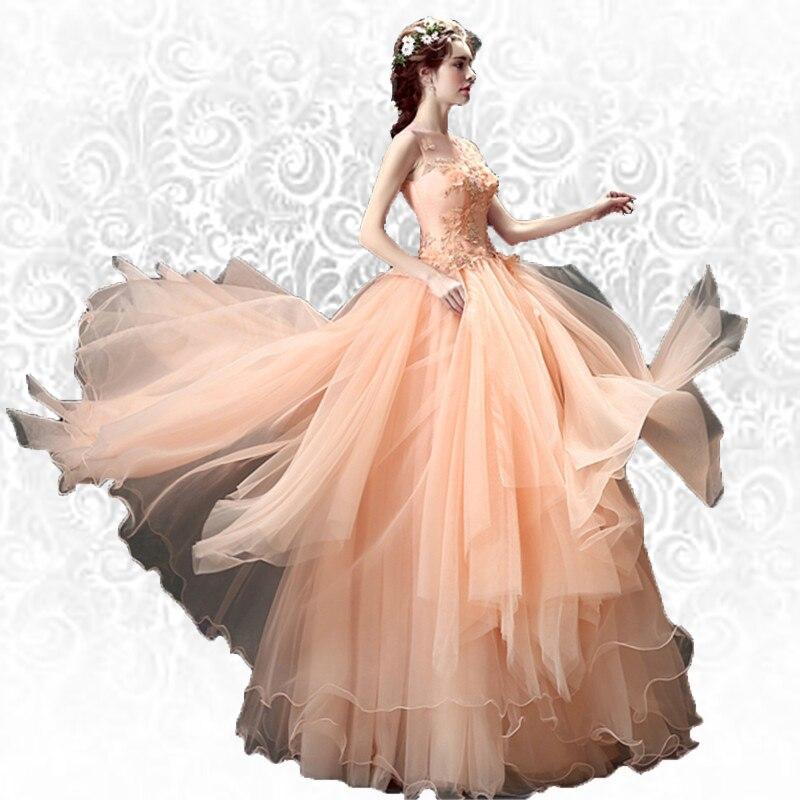 ca003e9a81 AXJFU Różowa suknia wieczorowa narzeczona kwiatowa na kolację wykona ...