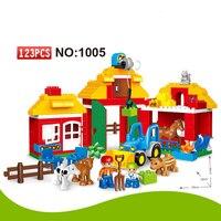 123 sztuk Dużych Bloków Szczęśliwy Zoo ze Zwierzętami Klocki Ustawione Dzieci DIY Kreatywny Duploe Dużych Bloków Zabawki