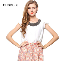 New Summer Blouses Women Blouse Lace Pearl Chiffon Clothing Tops Fashion Beading Blusas Feminina Grace Plus