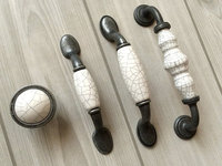 3 3 75 5 Crackle Dresser Knob Pull Drawer Handles Ceramic Kitchen Cabinet Door Handle Antique