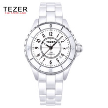 TEZER brand luxury Fashion Casual quartz ceramic watches women wristwatches Girl Dress clock