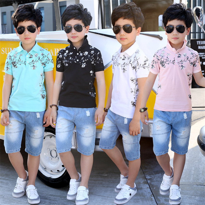 4-14 y children boys summer clothes sets casual boys outfits short sleeve two-piece floral polo shirts knee length jeans