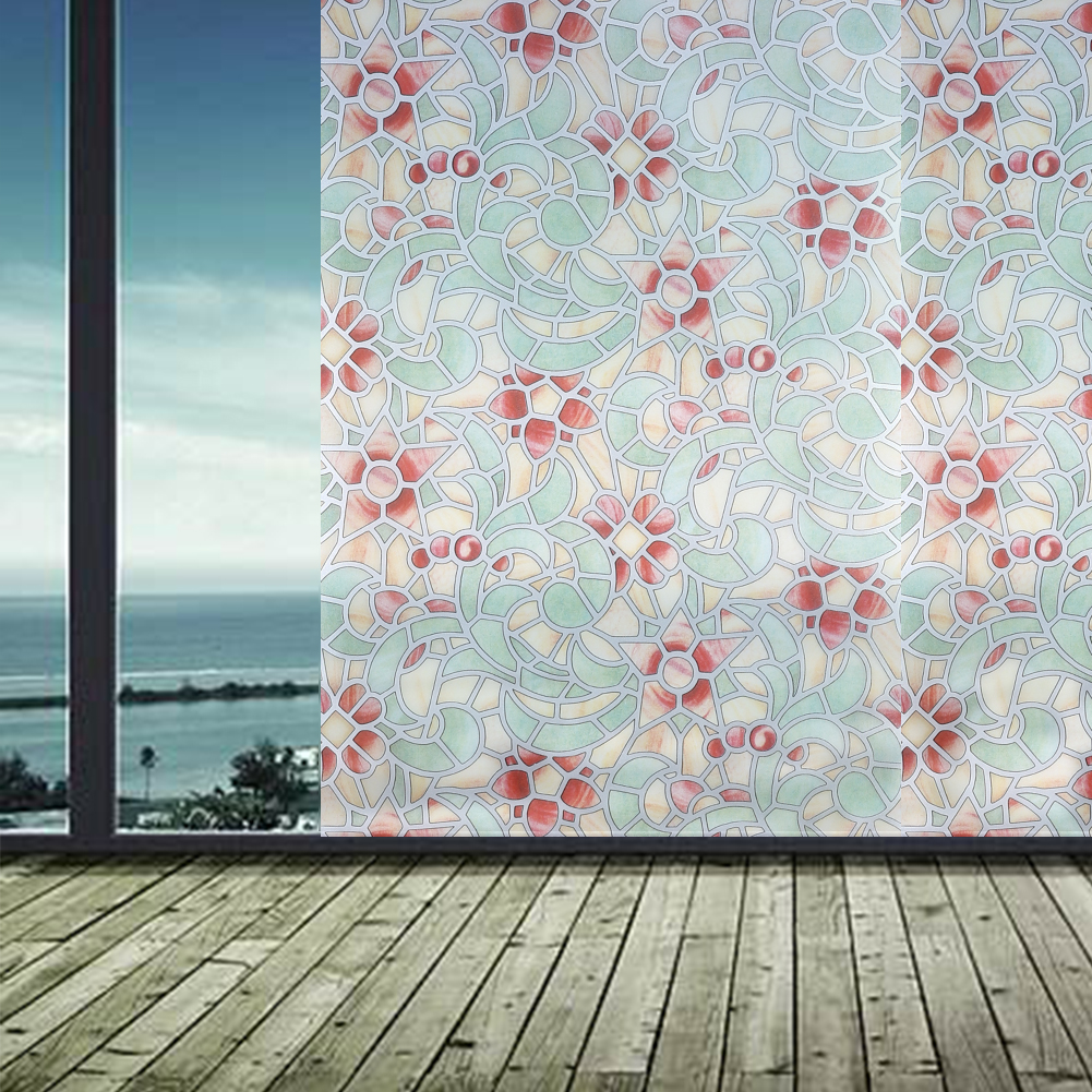 3D Static Cling Removable Window Film Stained Flower Glass Sticker Bathroom Slide Door 45x100cm/45x200cm Gift