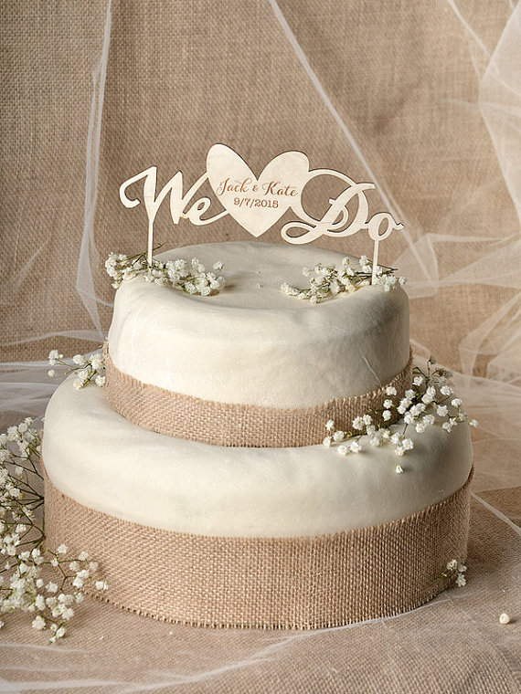 We Do Cake Topper Heart Engraved Wedding In Decorating Supplies From Home Garden On Aliexpress