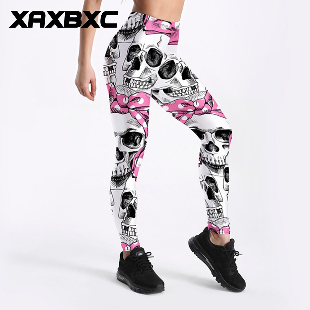 XAXBXC 3971 Sexy Girl Pencil Pant Pink Bow Skull Prints Elastic Slim Fitness Workout Women   Leggings   Plus Size